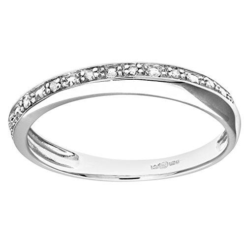 Naava Anillo de Mujer con Oro blanco de 9 quilates (375) con Diamantes Brillantes -...