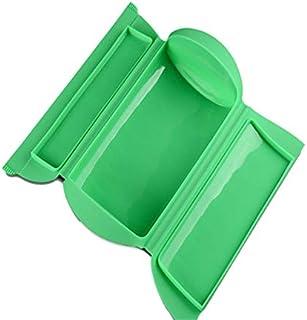 Kalavika Estuche de Vapor, Vaporera Microhondas, sin Bandeja, Silicona, Color Verde, para 1-2 Personas (650 ml), Tamaño 25.5 x 13.5 x 6cm