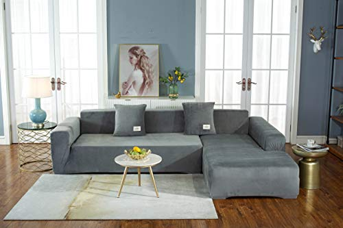 Stretch Plush Sofa Cover for Living Room/L-Shaped Sofa Cover/armrest Bench Sofa Cover/Sofa Cover 2-Seater-Gray,Single seat (Suitable for 90-140CM)