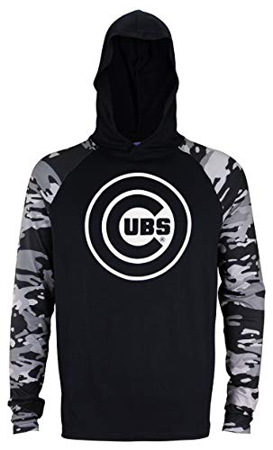 Zubaz MLB Men's Solid Black Tonal Camo Sleeves Hooded Shirt, Chicago Cubs X-Large