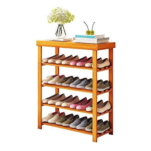 WJJ Zapatos Organizador 5-Tier Bastidor De Bambú Zapatos Bench, Zapatos Organizador, Estante De Almacenamiento, Ideal For Puerta De Entrada Pasillo Cuarto De Baño Sala De Estar Y Corredor Marrón