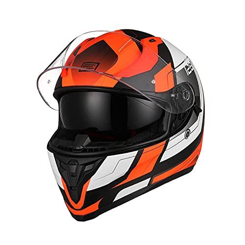 ORIGINE Casco integrale da moto da strada, da corsa con visiera colorata per Donna e Uomo (Advanced fluo orange-blk MATT, L)