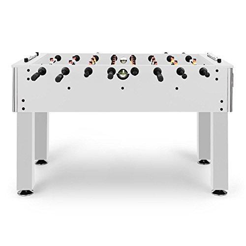 KLAR FIT Maracan Branco - Babyfoot, Dimensions Officielles, Protection des Angles, Support Boissons, Hauteur rglable, Joueurs Pieds biseauts, Balles en lige, Blanc