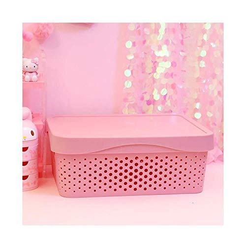Opbergmand, roze onder molen, opbergdoos voor slaapkamer, kunststof, opbergdoos met eenvoudig deksel