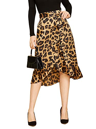 SheIn Women's Leopard Print Ruffle Hem Casual Midi Warp Skirt Medium Multicolor