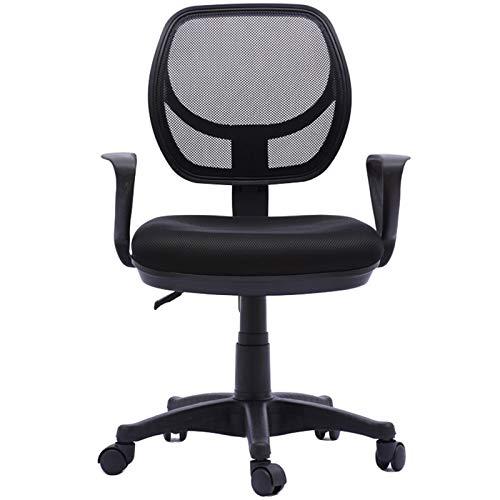 Silla de oficina de malla de mediana espalda Ejecución de rotación ergonómica ajustable Todas las sillas de oficina de malla con reposabrazos de soporte de cintura para el escritorio de la computadora