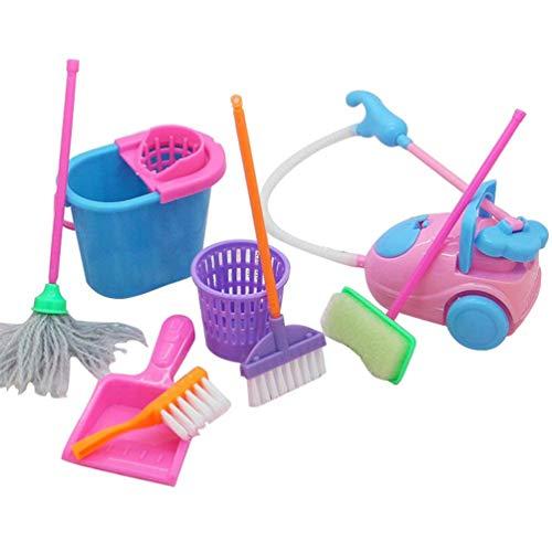 Demarkt Kinder Reinigung Spielzeug Set 9 PCS Puppe Möbel Reinigung Werkzeuge Set für Barbie Puppenstube Zubehör