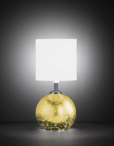 Außergewöhnliche Tischleuchte mit beleuchtetem Korpus Blattgold Optik 1x G9 E14 Wipp-Schalter Stoffschirm bauchige Tischlampe Beistelllampe für Schlafzimmer Wohnzimmer Lampe Leuchten innen