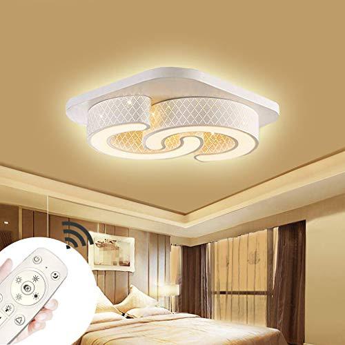 LED Dimmbar Deckenlampe Deckenleuchte Quadrat Energiespar Wohnzimmer Schlafzimmer Korridor Acryl-Schirm Rahmen Flur Lampe Schlafzimmer Küche Energie Sparen Licht C-Design Wandleucht (Weiß-64W Dimmbar)