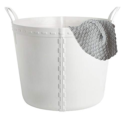 rejomiik Plastic Laundry Basket Storage Clothes Hamper Basket with Handles for Bathroom Bedroom Home Household Round Waterproof - Gray