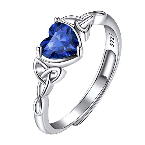 September Blue Birthstone Rings for Teens Heart Shaped, Scotland| Scottish Jewelry, Adjustable Crystal Stone Ring, 925 Sterling Silver Celtic Heart Knot Sapphire Rings for Women