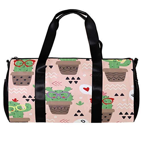Bolsa de deporte redonda con correa de hombro desmontable, lindas gafas de sol Cactus Pot Cartoon Art Training Bag para mujeres y hombres