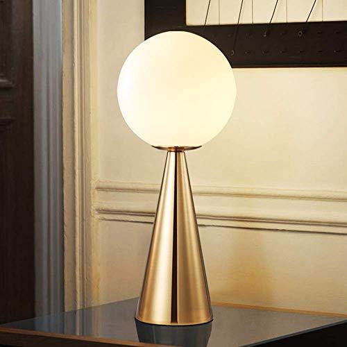 DJY-JY Nórdico moderno metal oro lámpara de mesa sala dormitorio noche porche bar leche bola blanca vidrio lámpara escritorio 20x20x43cm clásico Noble