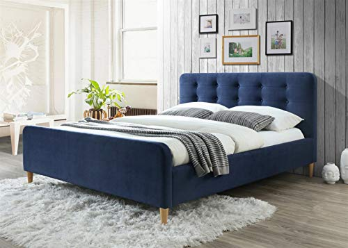 The Jolie Blue by Cadar | Upholstered in Blue Fabric | Luxury Bed | Plush Finish | Wooden Mattress Supports | Malaysian Wood Bed Frame | Nordic Design | Platform Bed | Padded Headboard | 160 x 200 cm