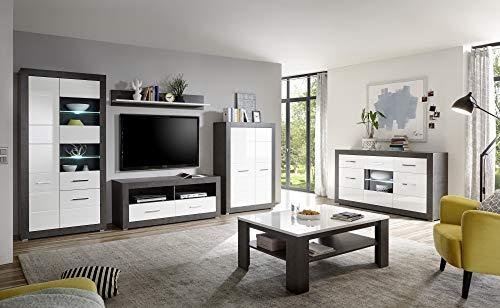 Wohnkombination Tolero II, Dark Concret/weiß Hochglanz, 6er-Set, Wohnzimmer, Möbel, Wohnzimmerset, Wohnzimmerkombination Ausführung mit Beleuchtung