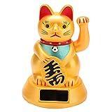 Chat de fortune, Adorable chat porte-bonheur Maneki Neko agitant les bras, Chat d'accueil accueillant à énergie solaire pour la maison/les magasins/décoration de voiture/restaurant (or)