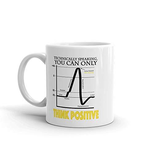 Think Positive Mug, Neuroscience, neurology gifts, science jokes, humorous, pun, neuron, brain, psychology, graduation gift,
