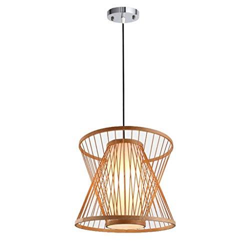 XJJZS Araña Lámpara de Techo de Cesta de bambú Tejida Mod
