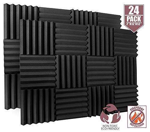 24 Pack Acoustic Foam Panels 2' X 12' X 12' Fireproof - SGS Certified - Soundproofing Studio Foam Wedge Tiles - Top Quality - Ideal for Home & Studio Sound Insulation High Density 1,57 pound/CBF