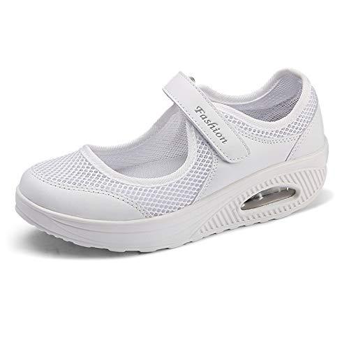 YTREDF Zapatillas de Deporte Zapatos Respirado Ligero Mujeres Tejida Cómodos Zapatos Adecuado para Muchas Ocasiones en Interiores y Exteriores,Blanco,34EU