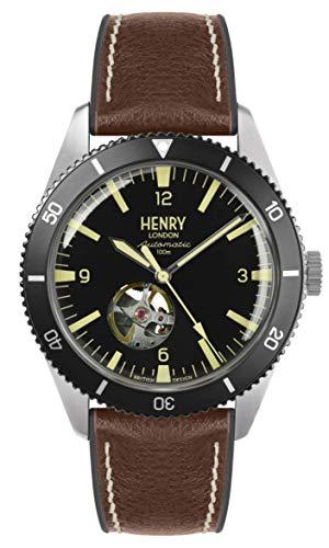 Henry London Reloj Esqueleto para Hombre de Automático con Correa en Silicona...