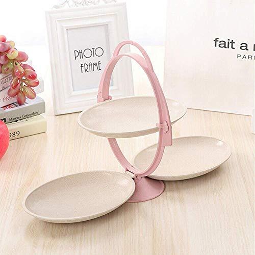 Heyaokun Bandeja de Frutas con Mango Antideslizante Plegable, Forma de Espejo Creativo Caja de Almacenamiento de Tres Capas para Oficina en casa (Rosado)