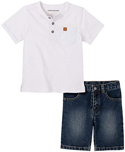 Calvin Klein - Conjunto de Pantalones Cortos para bebé (2 Piezas), Blanco/Mezclilla, 24 Meses