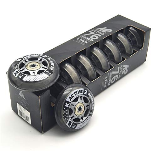 K2 Active Formula Skate Rollen 8 STÜCK 76mm/80A + ILQ5 + ALU Spacer (30B3008.1.1.1.76mm-Set)