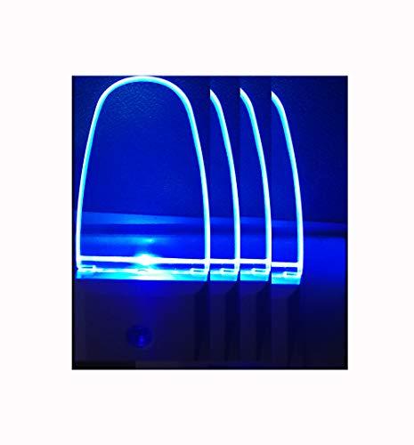 Blue Led Night Light Plug in Led nightLight Dusk to Dawn Sensor Automatic for Baby Bathroom Bedroom Hallway Stairways 4pack