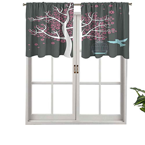 Hiiiman Fashion Design Valance Thermal Insulated Window Panels Tree with Seafoam Bird Cage a Bird Flowers, Set of 1, 54'x18' for Kids Room