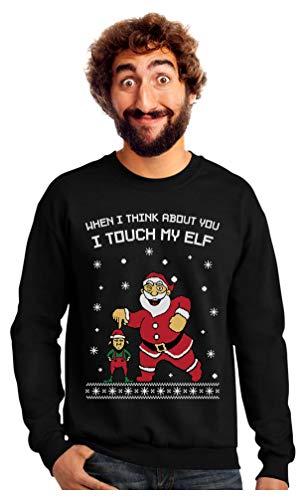 I Touch My Elf Ugly Christmas Sweater Sweatshirt X-Large Black