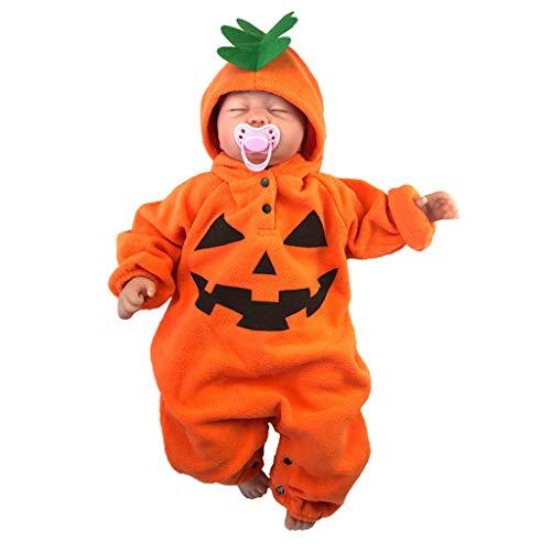 BaZhaHei Bambino Pagliaccetto,2019 Halloween Costume Cosplay per Bambina Infantile Pagliaccetto di Zucca Tutine Body Tuta con Cappuccio Abiti Clothes 3-24mesi (0-6 Mesi, Orange)