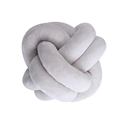 perfk Cojín de Almohada de Felpa de Bola Decorativa - Gris, 22cm