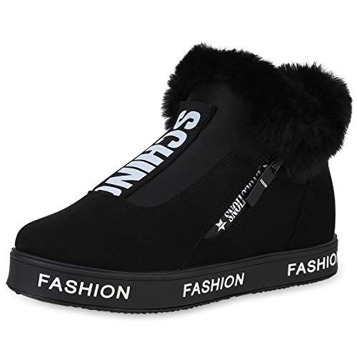 SCARPE VITA Damen Plateau Sneaker Warm Gefütterte Schuhe Kunstfell Turnschuhe 168992 Schwarz Prints Warm Gefüttert 40