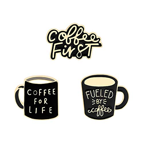 Café primero hornear barniz esmalte Pin divertido taza de café broches mochilas ropa insignia linda joyería regalo para amigos al por mayor