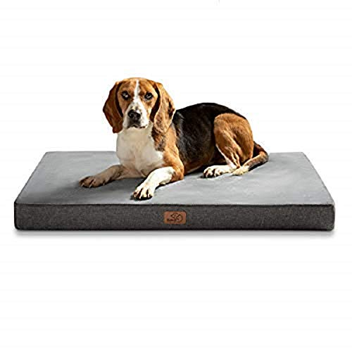 Bedsure Hundekissen Orthopädisch Memory Foam Hundematratze für Kleine Hunde, Hundebett mit Ergonomisch Design,Waschbar rutschfest Größe in 60X40 cm S