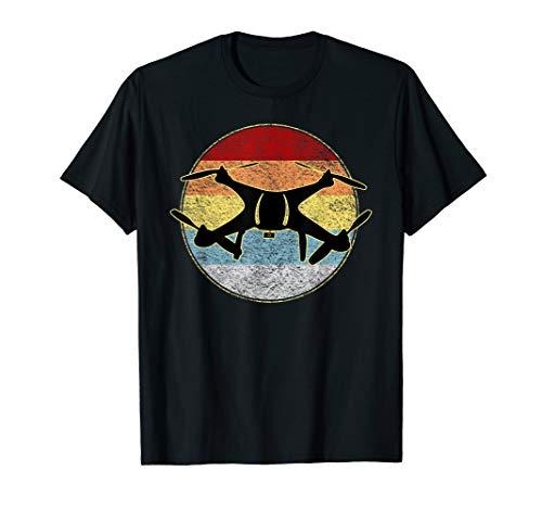Vintage Drone Pilot Quadcopter Flying Front & Back Design T-Shirt