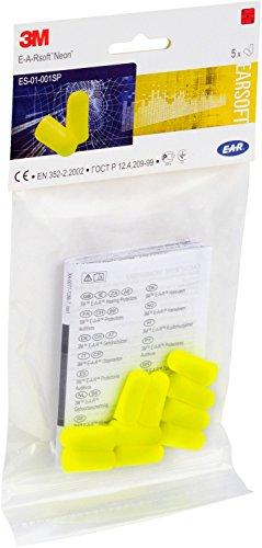 3M E-A-Rsoft Inserti auricolari modellabili, yellow neons, 36dB, senza cordicella, 5 paia confezione, ES-01-001SP