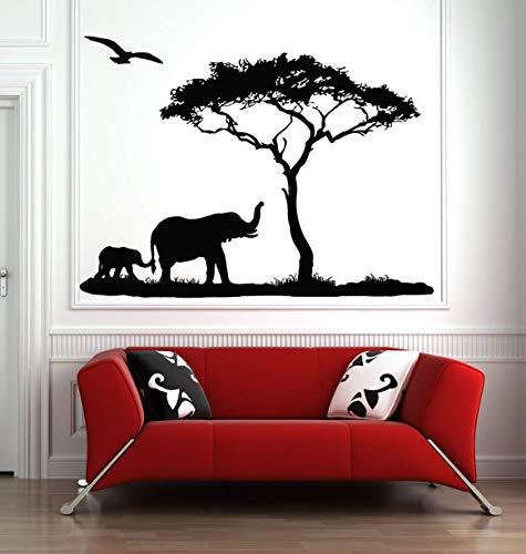 stickers muraux vintage Mère Éléphant Arbre Sticker Autocollant Afrique Savane Animal African Zoo Pépinière Enfants Décor Jungle Animaux