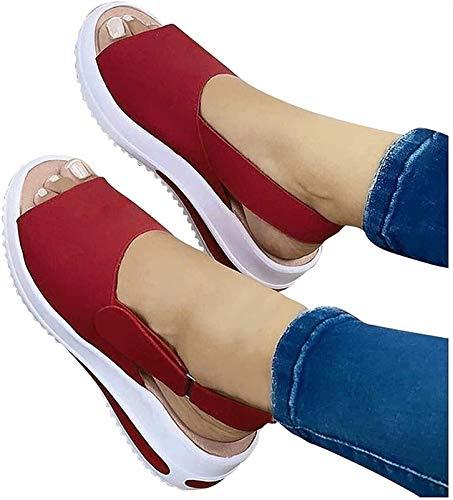 XiuLi Sandalias ortopédicas para Mujer Sandalias de cuña Baja Sandalias para Caminar con Punta Abierta Zapatillas de Playa Antideslizantes (Color : Red, Size : EU:39/UK:5.5)