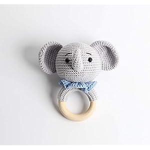 Häkel-Rassel – Taufgeschenk – Baby Rassel – Elefant Blau
