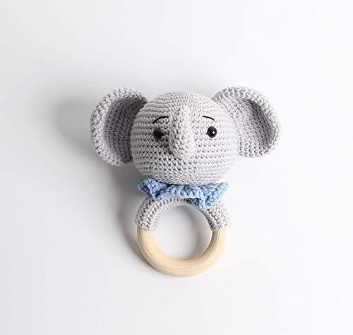 Häkel-Rassel - Taufgeschenk - Baby Rassel - Elefant Blau