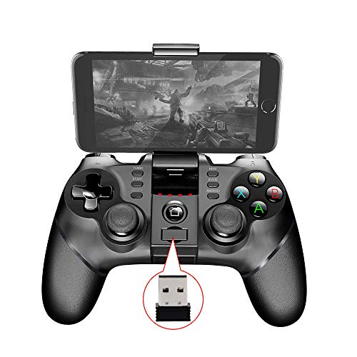 YOLANDE Bluetooth Móvil Mando de Juegos con Soporte Retráctil, 2.4G Inalámbrico PC/PS3/TV Mando Controlador Gamepad con Doble Vibración, para Android/PC/PS3/TV Inalámbrico