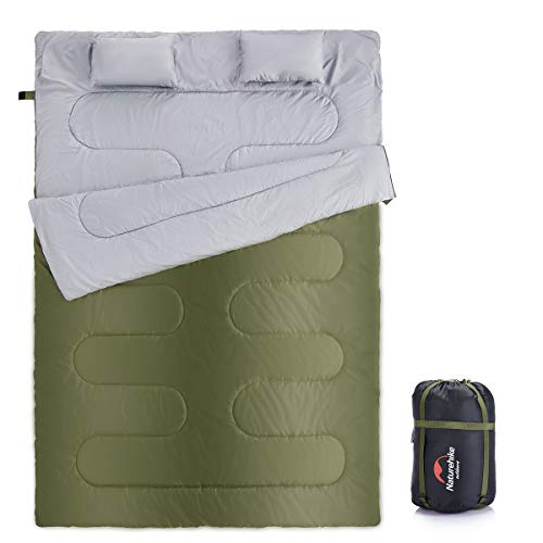 Naturehike Double Sleeping Bag for Backpacking, Camping, Or Hiking, Queen Size XL! Cold Weather 2 Person Waterproof Sleeping Bag for Adults Or Teens. Truck, Tent, Or Sleeping Pad