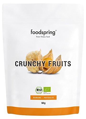 foodspring Crunchy Fruits Bio Banane-Physalis, 60g, Premium Trockenfrüchte, Hergestellt in Deutschland ohne Zuckerzusatz