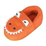 Lindas Zapatillas de Dibujos Animados para Niños Pequeños TOPKEAL Antideslizante Zapatos Algodón de Casa Cálida Naranja