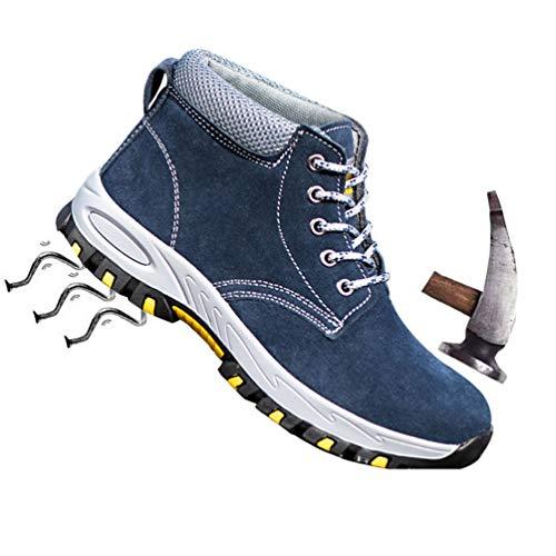 ZKOOO Herren Anti Smashing Punktion Proof Antistatische Sicherheitsschuhe Stahlkappe Stahlsohle Arbeitsschuhe Atmungsaktiv Leichtgewicht Trekking Hiking Wanderhalbschuhe für alle Jahreszeiten