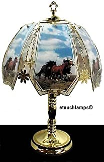 Horses on Range Touch Lamp with Polished Brass Base