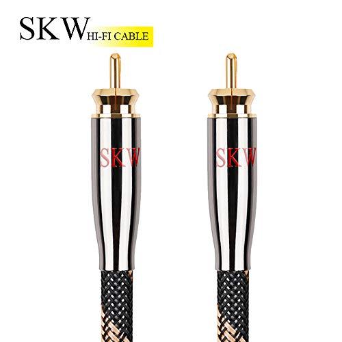 SKW Cinch auf Cinch Subwoofer-Kabel hat mehrere Abschirmungen mit Innenleiter aus für HiFi-Systeme(3M/Schwarz)