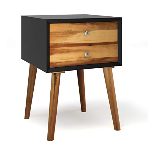 GOPLUS Nachttisch mit 2 Schubalden, Nachtkommode aus Holz, Nachtschrank Sofatisch, Ablagetisch, Telefontisch, Nachtkonsole, Beistelltisch für Schlafzimmer, Wohnzimmer, 40x40x59cm